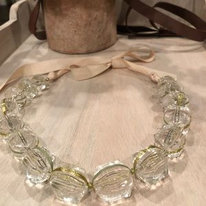 Clear Chunky Beaded Statement Necklace w/Ribbon